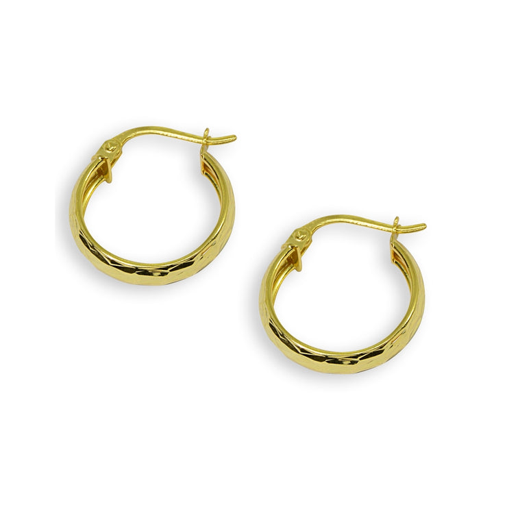 Yellow Gold Flashed Sterling Silver 4x20mm Diamond-Cut Round Click-Top Small Hoop Earrings