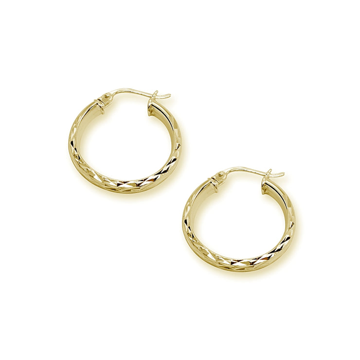Yellow Gold Flashed Sterling Silver 3x20mm Diamond-Cut Round Dainty Click-Top Small Hoop Earrings