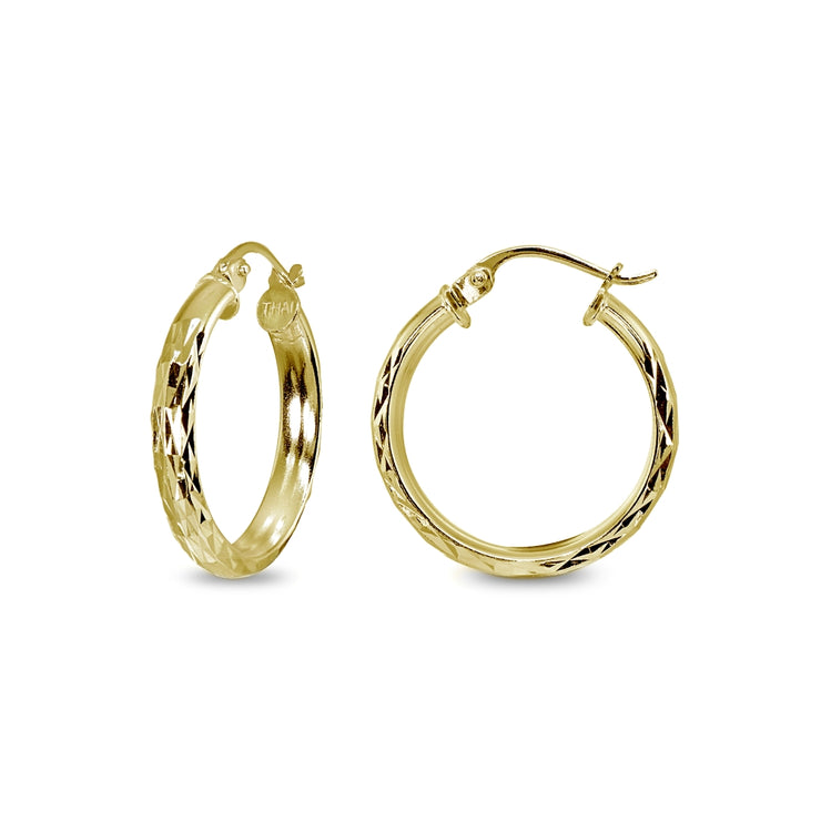 Yellow Gold Flashed Sterling Silver 3x25mm Diamond-Cut Round Dainty Click-Top Small Hoop Earrings