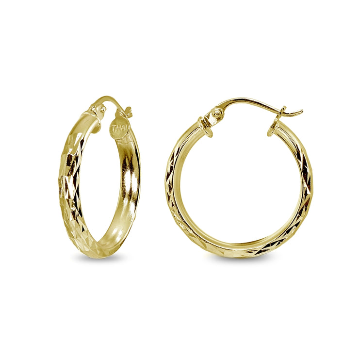 Yellow Gold Flashed Sterling Silver 3x30mm Diamond-Cut Round Dainty Click-Top Small Hoop Earrings