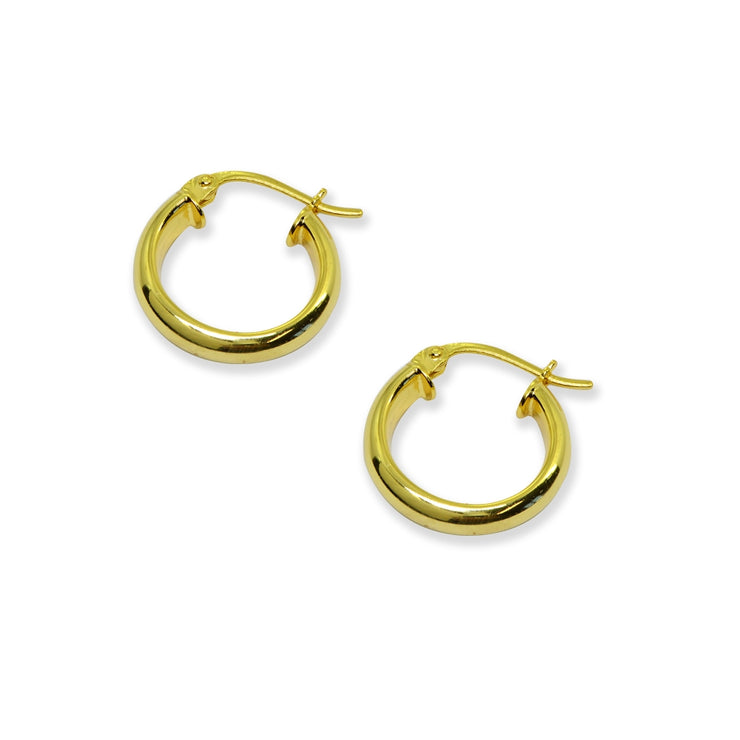Yellow Gold Flashed Sterling Silver Polished 3x15mm Half Round Click-Top Small Hoop Earrings