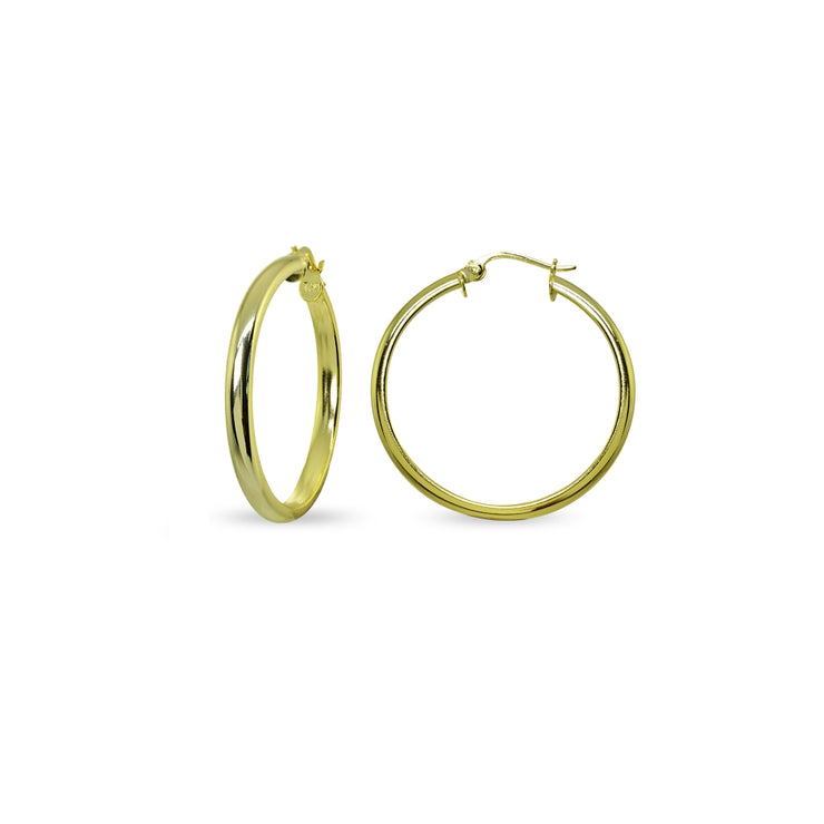 Yellow Gold Flashed Sterling Silver Polished 3x20mm Half Round Click-Top Small Hoop Earrings