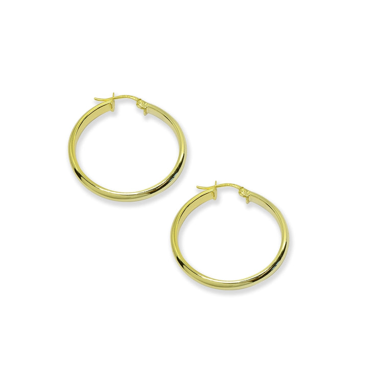 Yellow Gold Flashed Sterling Silver Polished 3x25mm Half Round Click-Top Small Hoop Earrings
