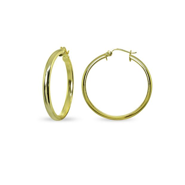 Yellow Gold Flashed Sterling Silver Polished 3x30mm Half Round Click-Top Medium Hoop Earrings