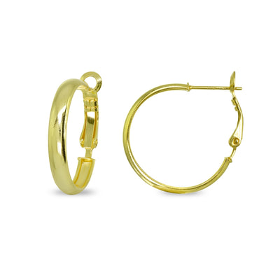 Yellow Gold Flashed Sterling Silver Polished 4x25mm Round Clutchless Small Hoop Earrings