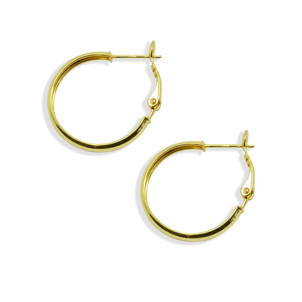 Yellow Gold Flashed Sterling Silver Polished 4x30mm Round Clutchless Small Hoop Earrings