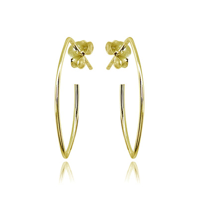 Yellow Gold Flashed Sterling Silver Polished Marquise Shape Drop Hoop Earrings