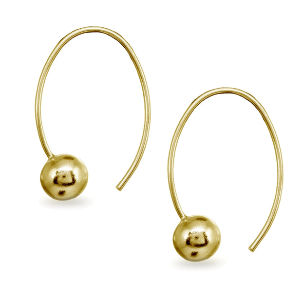 Yellow Gold Flashed Sterling Silver Polished Upside Down Bead Wire Open Hoop Earrings