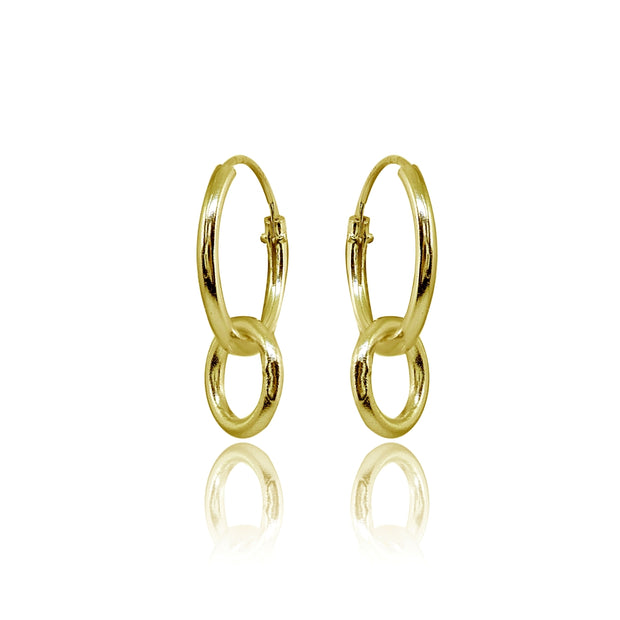 Yellow Gold Flashed Sterling Silver Polished Interlocking Double Circle Dainty Endless Hoop Earrings
