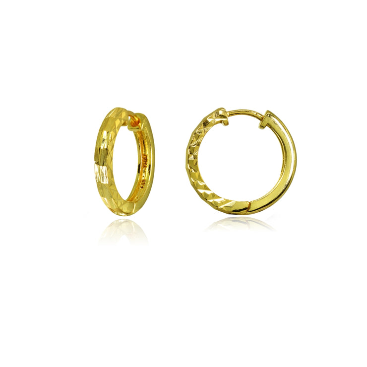 Yellow Gold Flashed Sterling Silver 2x15mm Diamond-Cut Polished Small Hoop Earrings