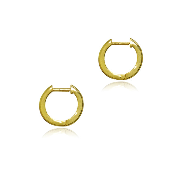 Yellow Gold Flashed Sterling Silver 2x12mm Polished Simple Dainty Small Hoop Earrings
