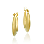 18K Gold over Sterling Silver Puffed Hoop Earrings