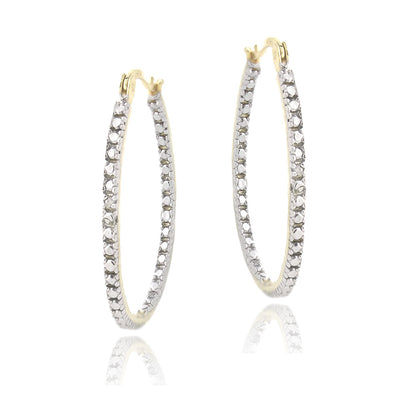 18K Gold Plated Diamond Accent 33mm Hoop Earrings
