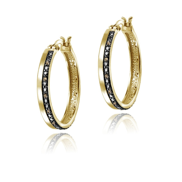 Gold Tone 1/4ct Champagne Diamond Hoop Earrings