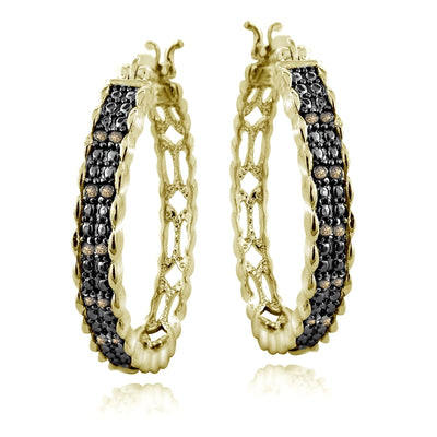 Gold Tone 1/4ct Champagne Diamond 28mm Round Hoop Earrings