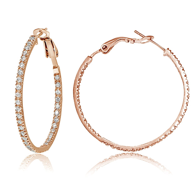18k Rose Gold over Silver 35mm Inside Out CZ Hoop Earrings