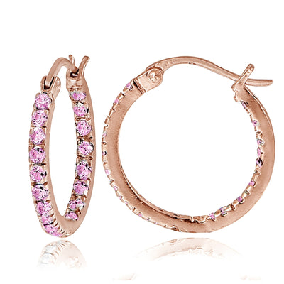 Rose Gold Flash over Sterling Silver Pink Cubic Zirconia Inside Out 17mm Round Hoop Earrings