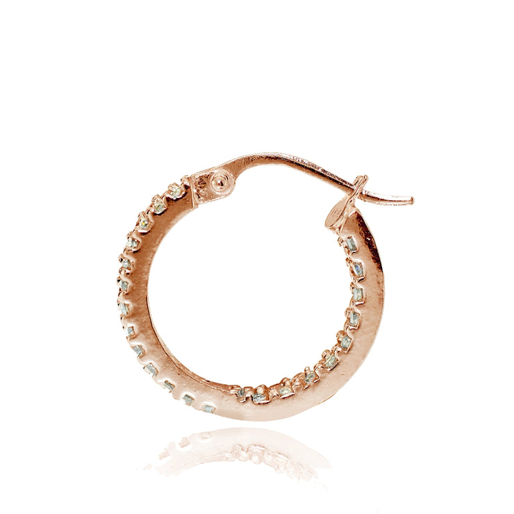 Rose Gold Flash Sterling Silver Cubic Zirconia 3x16mm Two Row Inside-Out Hoop Earrings