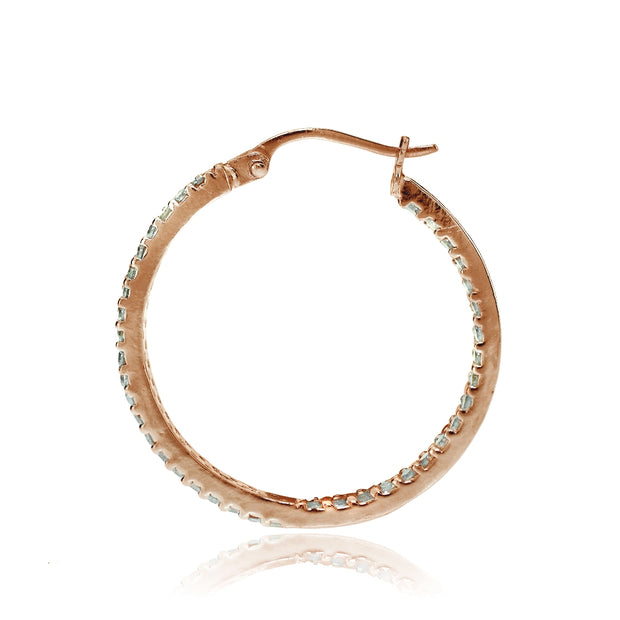 Rose Gold Flash Sterling Silver Cubic Zirconia 3x25mm Two Row Inside-Out Hoop Earrings
