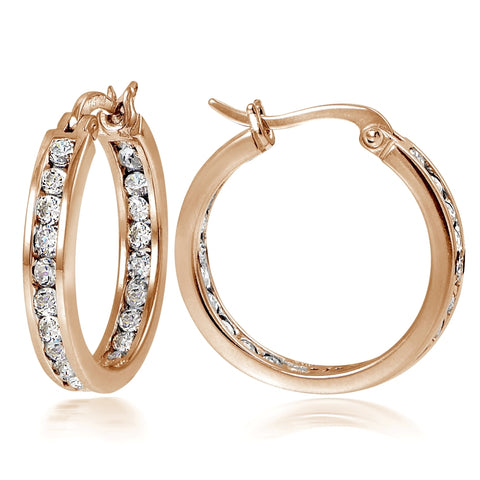 Rose Gold Tone over Sterling Silver Cubic Zirconia Inside Out Channel-Set 20mm Round Hoop Earrings
