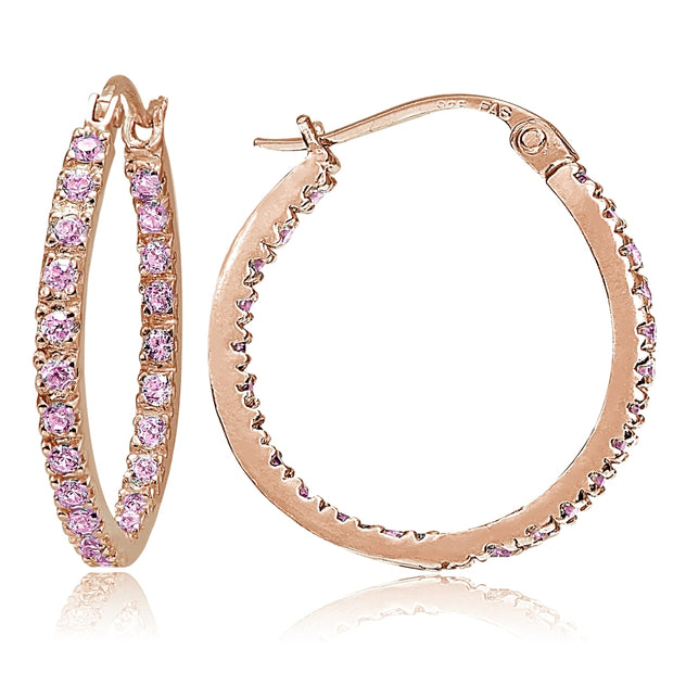 Rose Gold Flash Sterling Silver Pink Cubic Zirconia Inside Out 25mm Round Hoop Earrings