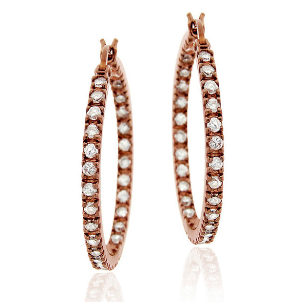 Rose Gold Tone over Sterling Silver Cubic Zirconia Inside Out 25mm Round Hoop Earrings