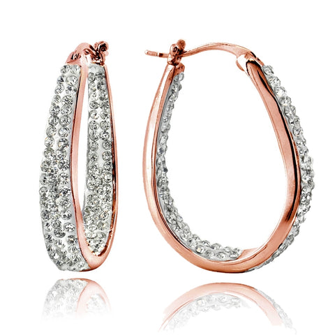 Rose Gold Tone Crystal Inside-Out Oval Hoop Earrings