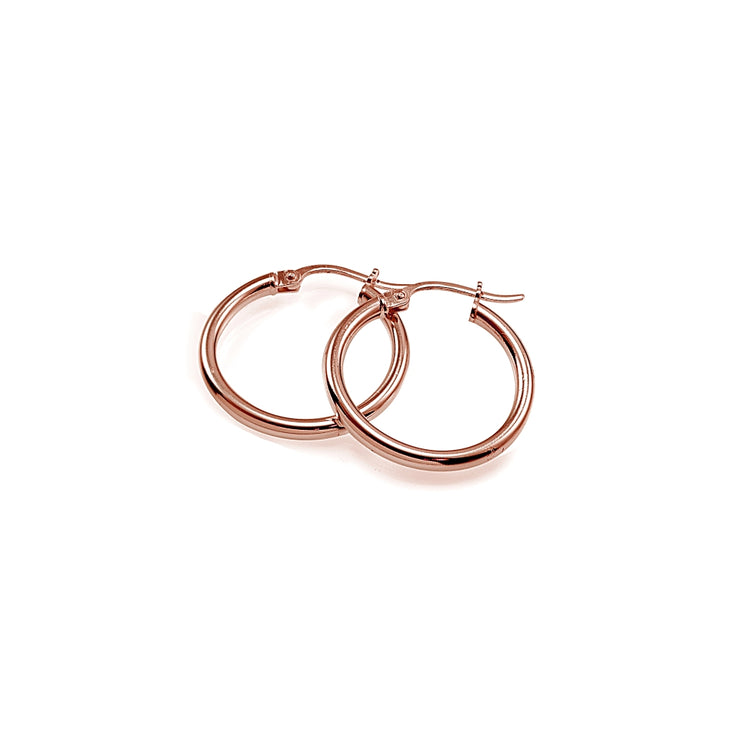 Rose Gold Tone over Sterling Silver 2mm High Polished Round Hoop Earrings, 15mm