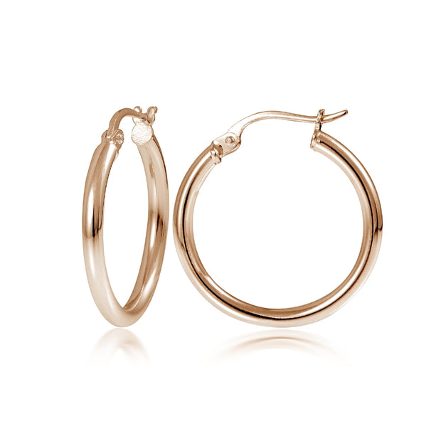 Rose Gold Tone over Sterling Silver 2mm High Polished Round Hoop Earrings, 20mm