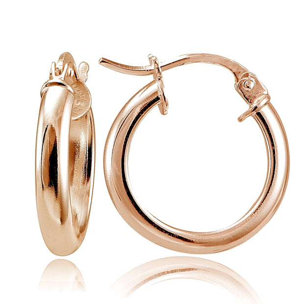 Rose Gold Tone over Sterling Silver Polished French Lock Hoop Earrings, 15mm