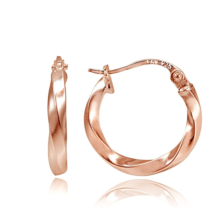 Rose Gold Tone over Sterling Silver 2mm Twist Round Hoop Earrings, 15mm