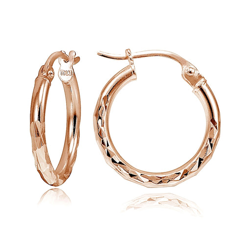 Rose Gold Tone over Sterling Silver Diamond-Cut Round Hoop Earrings, 15mm