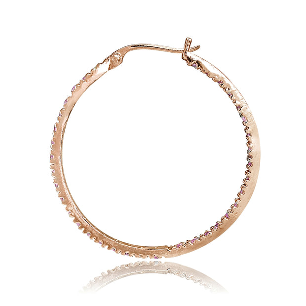 Rose Gold Flash Sterling Silver Cubic Zirconia Inside Out 30mm Round Hoop Earrings