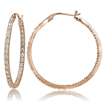 Rose Gold Tone over Sterling Silver Cubic Zirconia Inside Out 30mm Round Hoop Earrings
