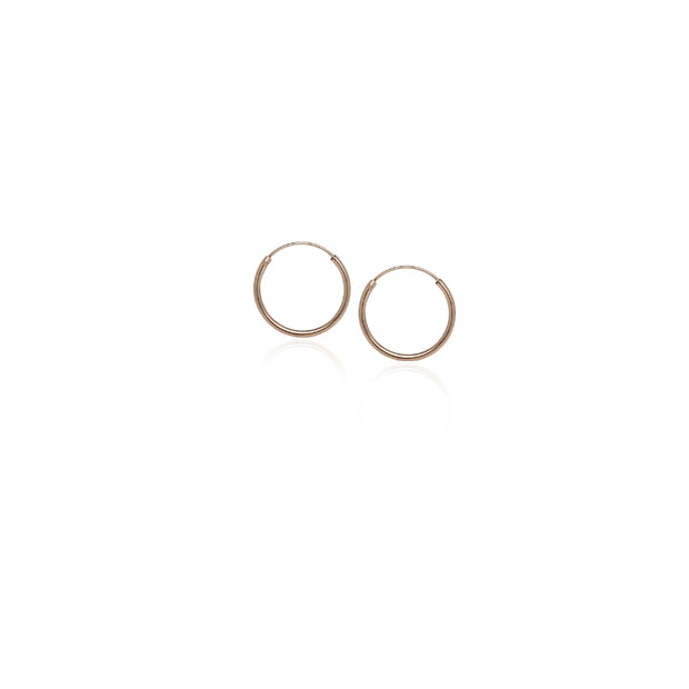 Rose Gold Tone over Sterling Silver Endless Hoop Earrings, 10mm