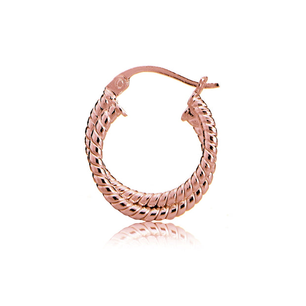 Rose Gold Tone over Sterling Silver Intertwining Rope Hoop Earrings, 20mm