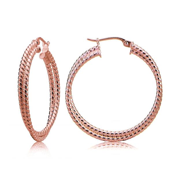 Rose Gold Tone over Sterling Silver Intertwining Rope Hoop Earrings, 25mm