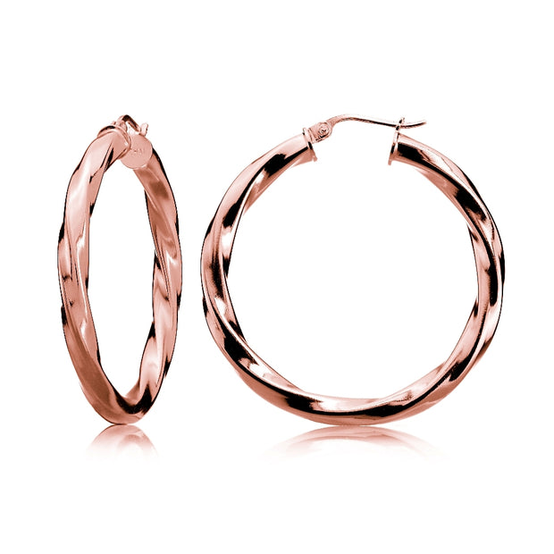 Rose Gold Tone over Sterling Silver 3.5mm Twist Design Round Hoop Earrings, 30mm