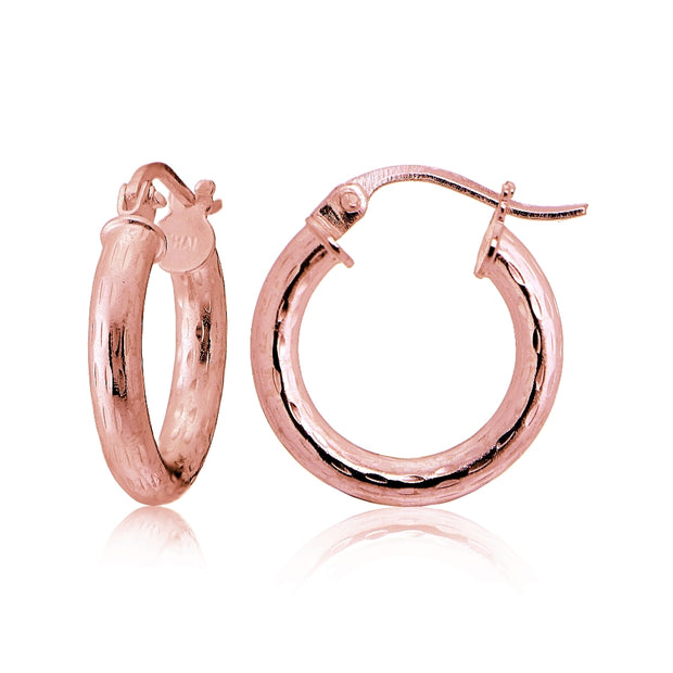 Rose Gold Tone over Sterling Silver 2.5mm Diamond Cut Polished Round Hoop Earrings, 15mm