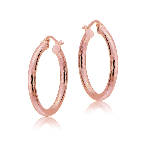Rose Gold Tone over Sterling Silver 2.5mm Diamond Cut Polished Round Hoop Earrings, 20mm