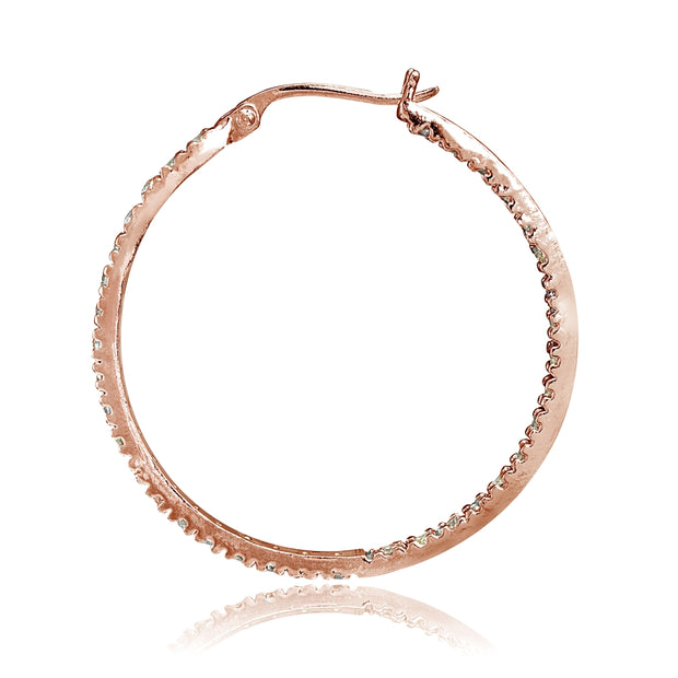 Rose Gold Tone over Sterling Silver Cubic Zirconia Inside Out 40mm Round Hoop Earrings