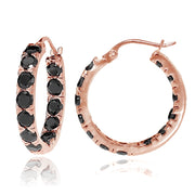 Rose Gold Tone over Sterling Silver Black Cubic Zirconia Inside Out 3x25 mm Round Hoop Earrings