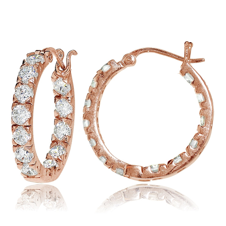 Rose Gold Tone over Sterling Silver Cubic Zirconia Inside Out 3x25 mm Round Hoop Earrings