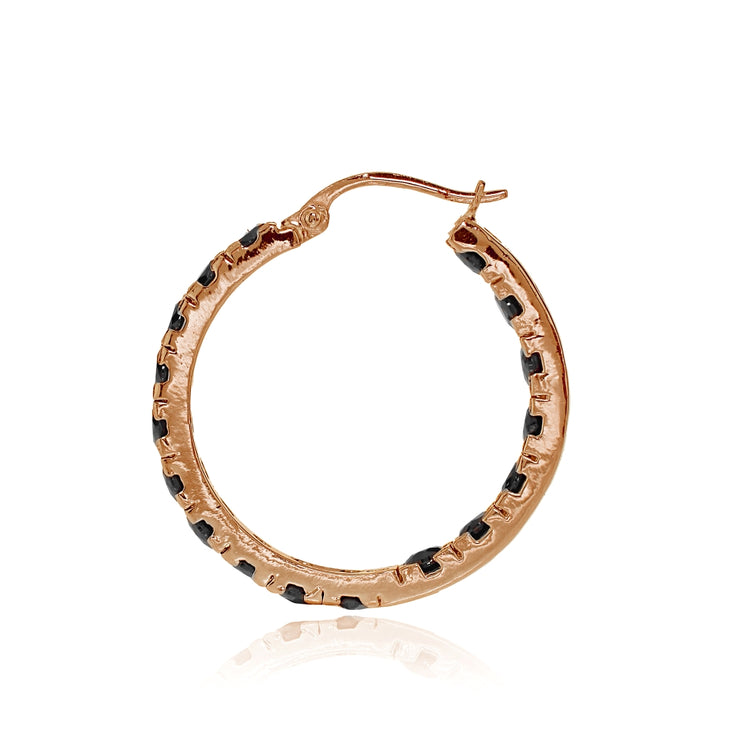 Rose Gold Tone over Sterling Silver Black Cubic Zirconia Inside Out 3x20 mm Round Hoop Earrings