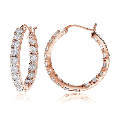 Rose Gold Tone over Sterling Silver Cubic Zirconia Inside Out 3x20 mm Round Hoop Earrings