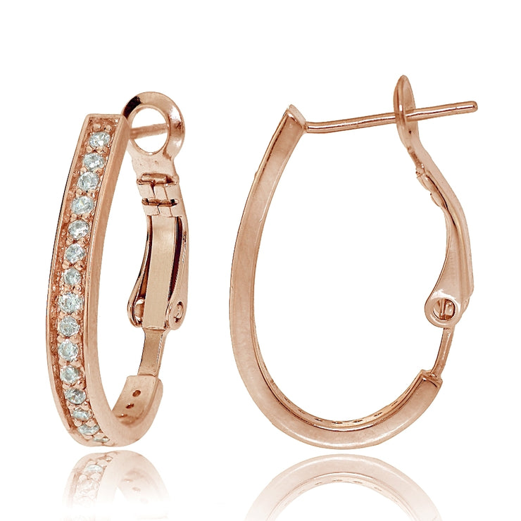 Rose Gold Tone Sterling Silver Cubic Zirconia Oval J-Hoop Earrings, 20mm