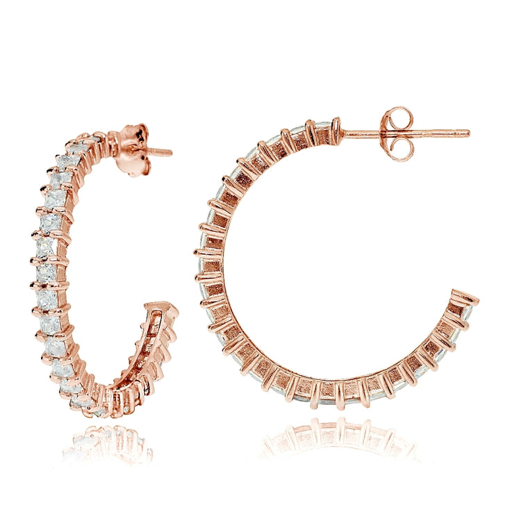 Rose Gold Flash Sterling Silver Square Cubic Zirconia Half Hoop Earrings, 25mm