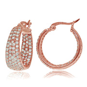 Rose Gold Flash Sterling Silver Cubic Zirconia Inside-Out Fashion Huggie Hoop Earrings