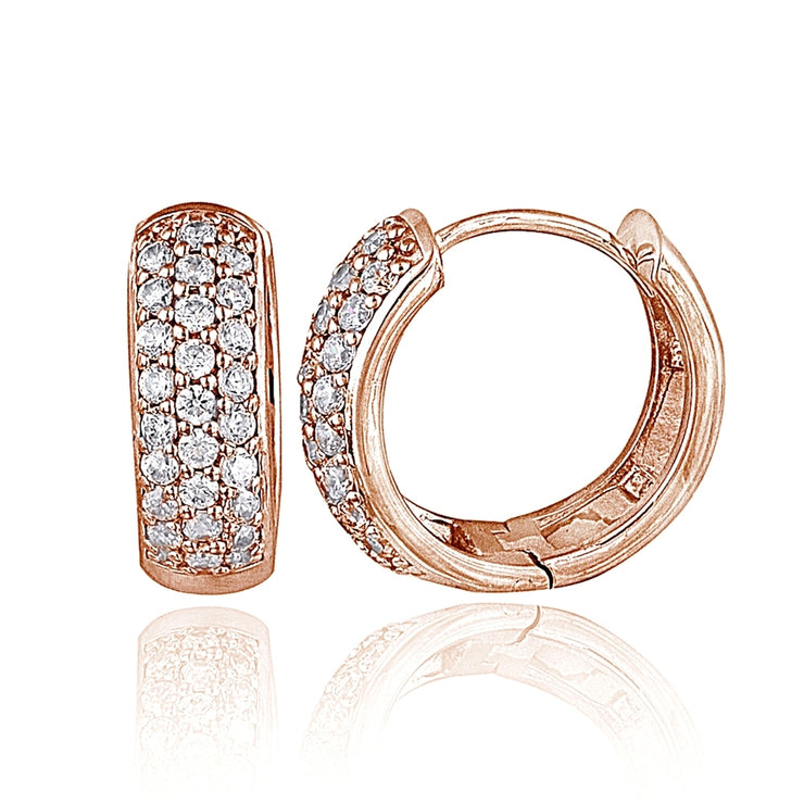 Rose Gold Tone over Sterling Silver Cubic Zirconia 15mm Huggie Hoop Earrings