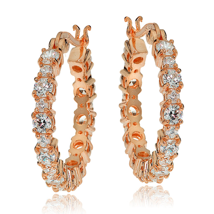 Rose Gold Tone over Sterling Silver Round Cubic Zirconia 22mm Hoop Earrings